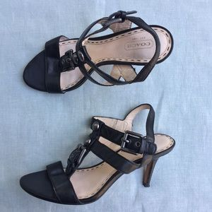 Coach Robin black leather strappy heeled sandals